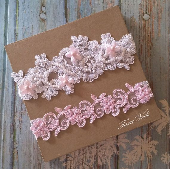Wedding Garter Set,Bridal Garter Pink,Bridal Garter pink Garter,Wedding Garter White,Lace Garter, Garter Set light pink, garter set white