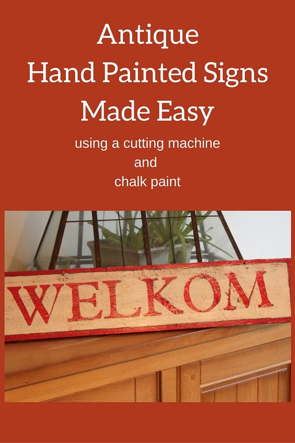 """""""Antique"""" hand painted welcome sign made easy with your own stencil and chalk paint."""