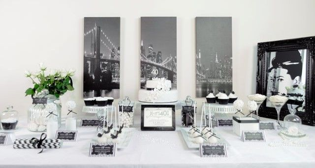 40th dessert table black and white | Mamma wears Prada