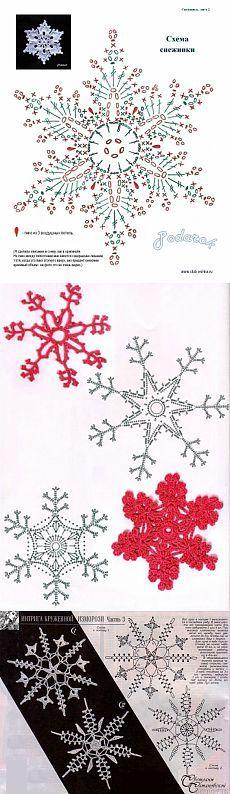 Схемы вязания снежинок / Вязание крючком / Вязание крючком для начинающих