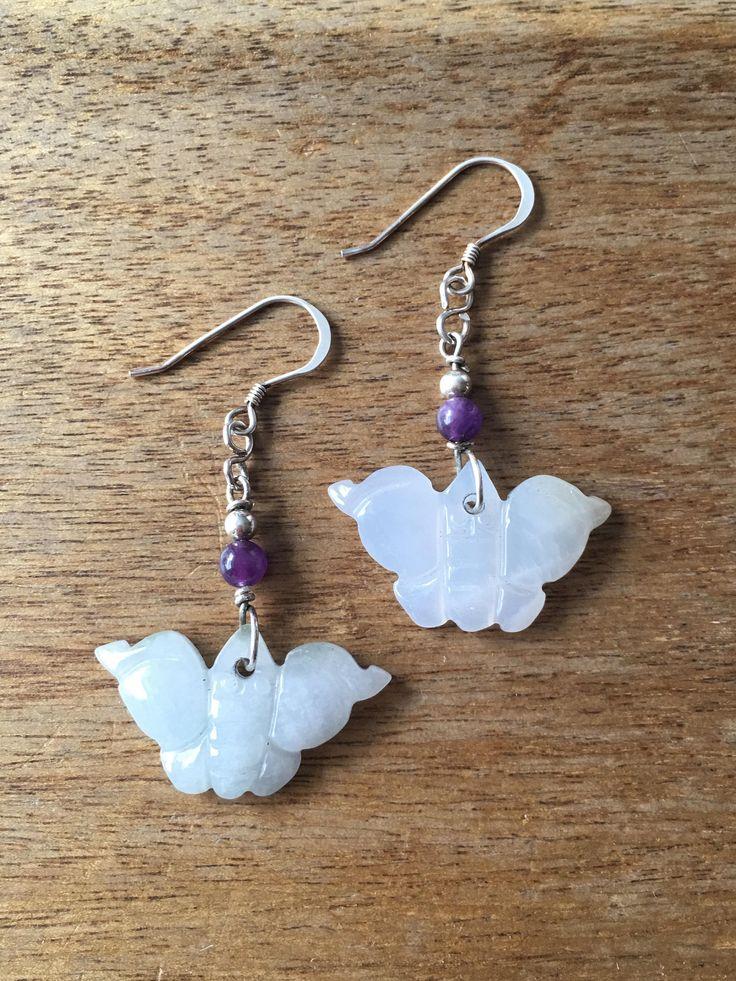 Jade Earrings, Butterfly Earrings, Carved Jade Butterfly Earrings, Carved Pale Green Jade Butterfly Amethyst Bead Sterling Silver Earrings by RitaCollection on Etsy