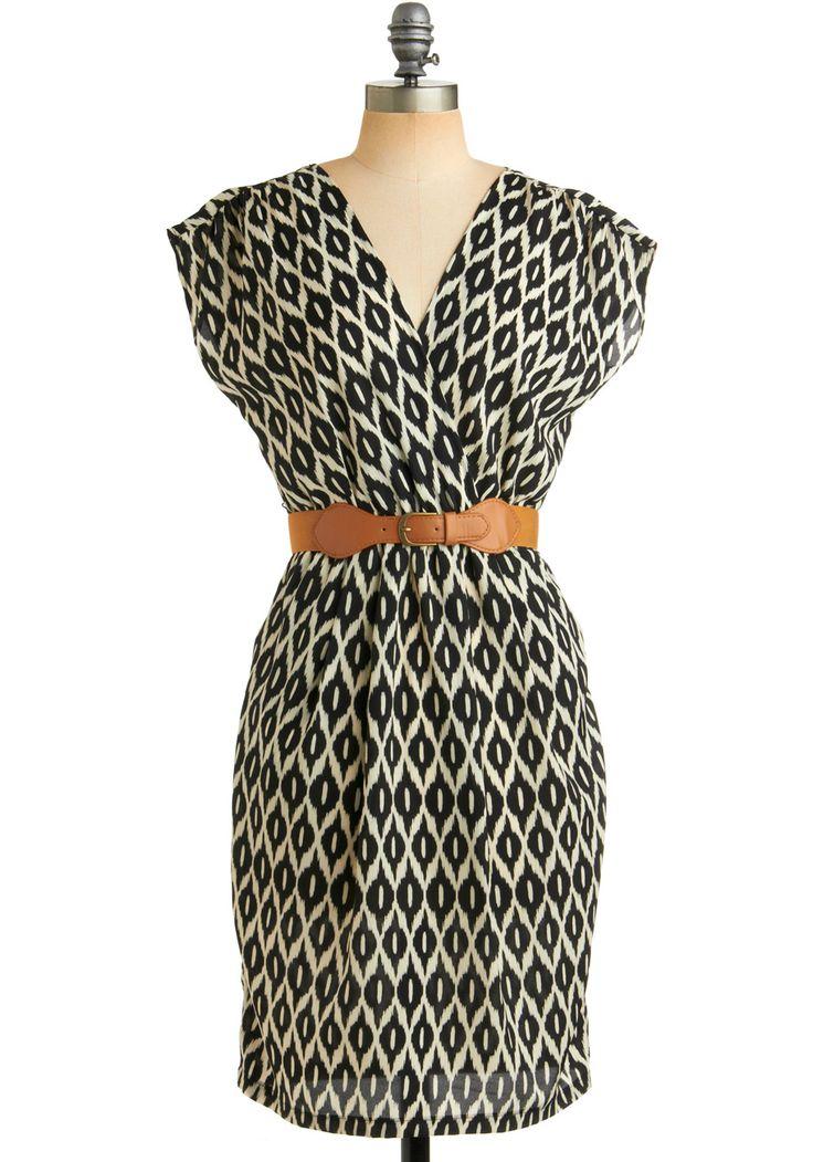 One Cool Ikat Dress - Print, Braided, Buckles, Pockets, Sheath / Shift, Short Sleeves, Work, Casual, Safari, Spring, Fall, Black, White, Long