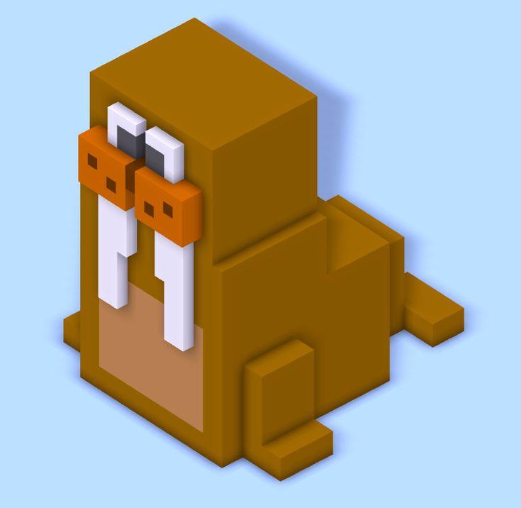 A walrus that'd fit right in with Crossy Road. cc @KlickTock @SunraHeadgear @JigxorAndy