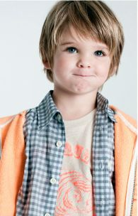 Boy haircut. Not sure this would work for M, his hair is so straight and fine, but I like this look.