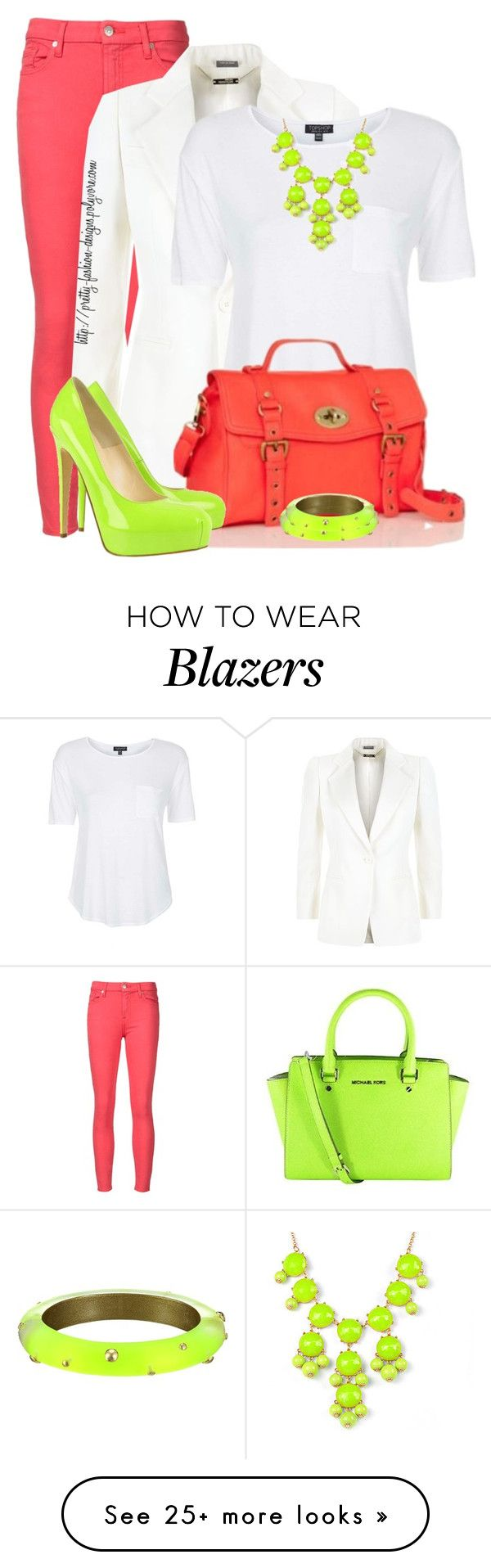 """""""~  Neon Color  ~"""" by pretty-fashion-designs on Polyvore featuring 7 For All Mankind, Alexander McQueen, Topshop, J.Crew, Michael Kors, Brian Atwood, Alexis Bittar, women's clothing, women and female"""