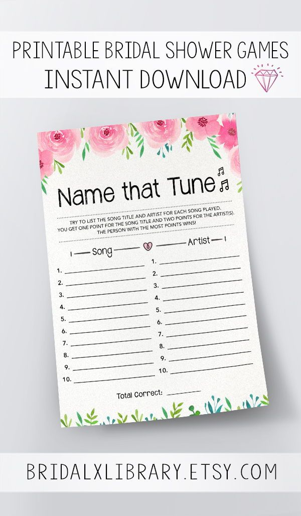 name that tune printable bridal shower games instant download bachelorette party games printable baby shower games digital download game