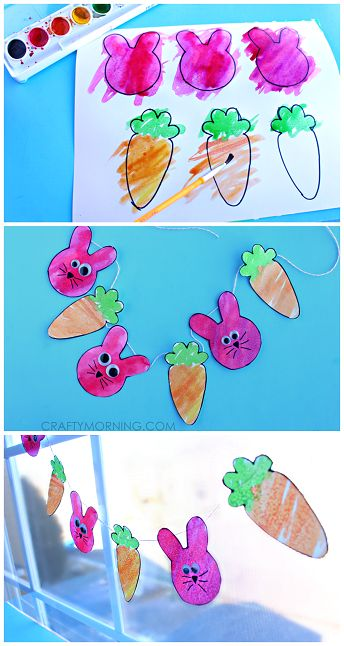 Bunny and Carrot Watercolor Garland - Fun Easter craft for kids! | CraftyMorning.com