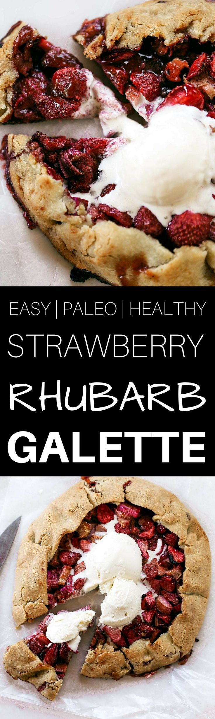 """Incredibly easy grain free & paleo strawberry rhubarb galette. A healthy and simple summer treat made with whole food ingredients. Naturally gluten free and dairy free. Sweetened without refined sugar. That sugary gooey fruit filling is to die for! Especially paired with a light and """"buttery"""" almond flour crust. Gluten free galette. Paleo fruit galette. best paleo strawberry galette. easy healthy galette recipe. paleo galette recipe. easy gluten free summer desserts. grain free..."""