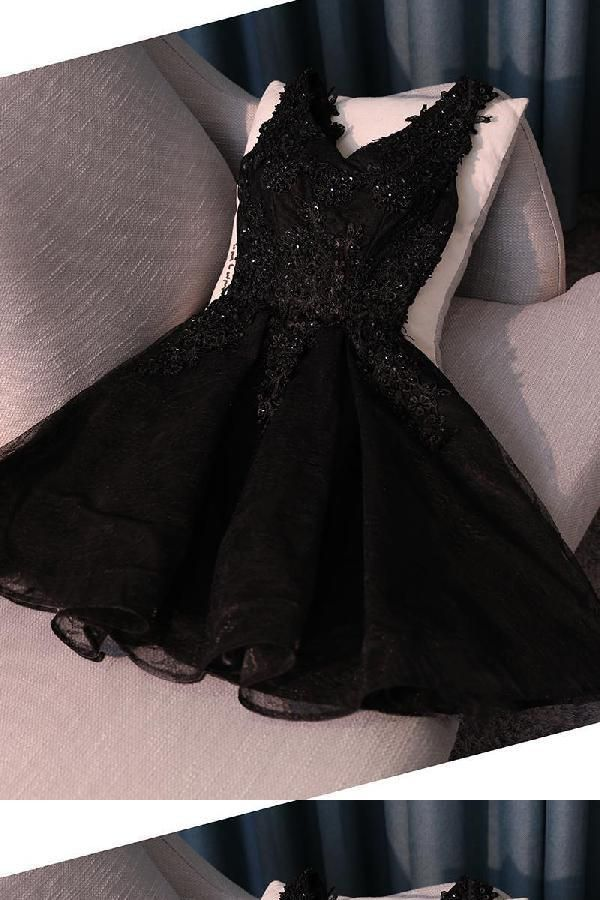 Custom Made Cute Prom Dresses Cheap, V Neck Homecoming Dress, Black Lace Prom Dresses, Short Homecoming Dress