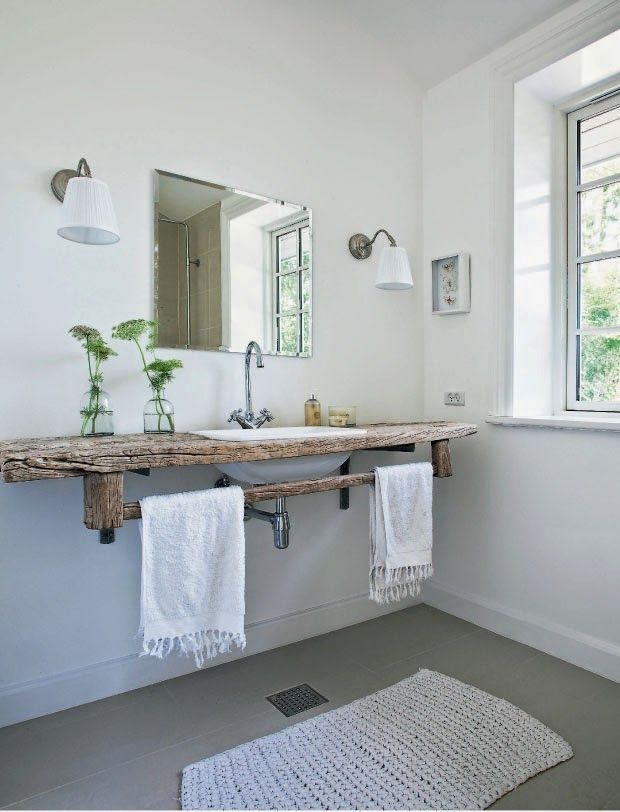 LOVE the rustic simplicity of this bathroom. All that natural light is welcome as well. via We <3 Home Design