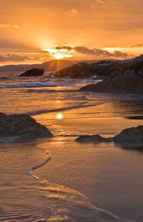 "mostlyuk: """" Sunset at Whitsands Bay, Cornwall, England "" "":"