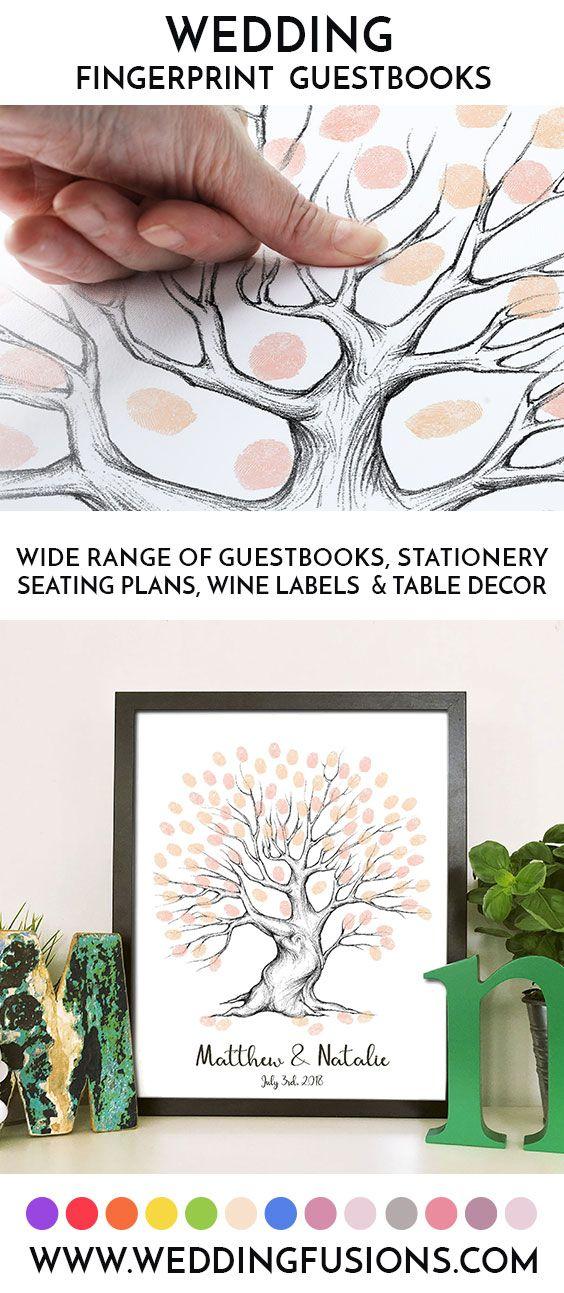 Fingerprint tree wedding guest book. A wedding tree captures your guests fingerprints and make a unique wedding centrepiece