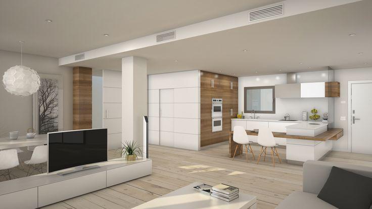 Vista comedor-cocina en vivienda dúplex