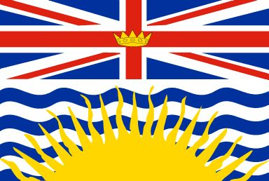 British Columbia's flag is topped by the Union Jack with a gold crown centred in the cross bars, representing British Columbia's colonial beginnings. The waving blue and white lines and the setting sun symbolize British Columbia's geographic position between the Rocky Mountains and the Pacific Ocean.