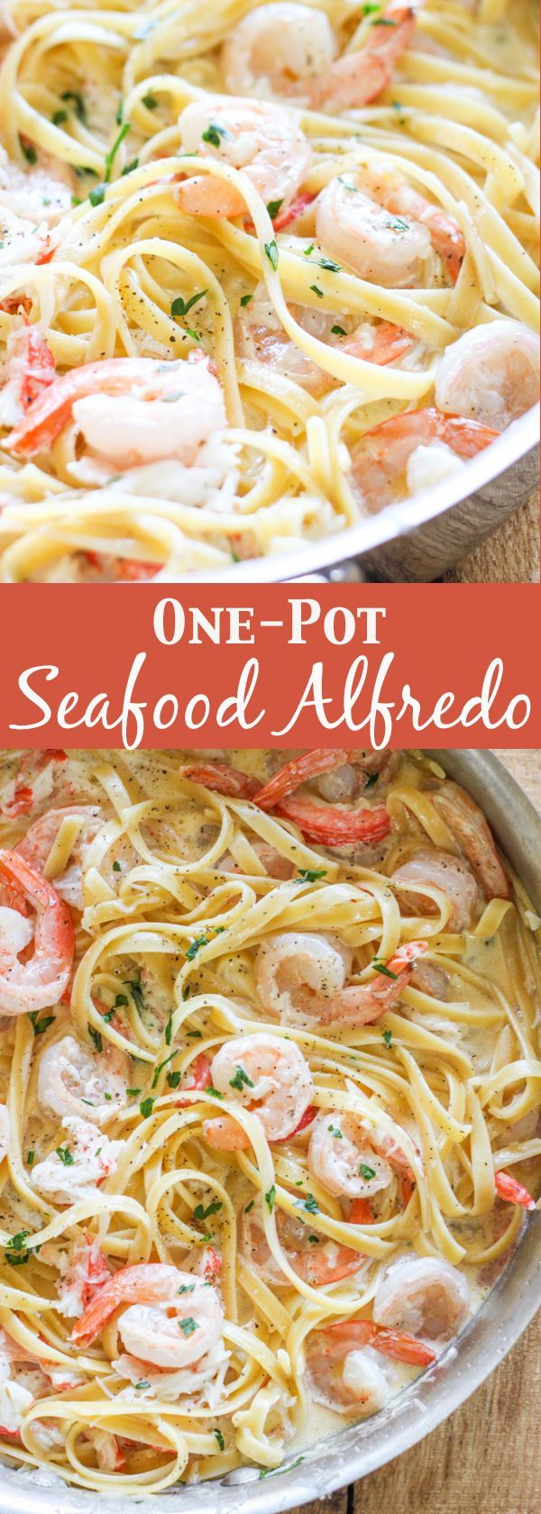 one pot seafood alfredo- Succulent sautéed shrimp and sweet lump crab meat in a delicious homemade alfredo sauce. This homemade one-pot seafood alfredo is better than Olive Garden!