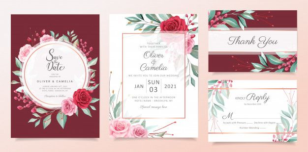 Red Floral Wedding Invitation Card Template Set With Watercolor Flowers Arrangements Floral Wedding Invitation Card Wedding Invitation Card Template Red Wedding Invitations