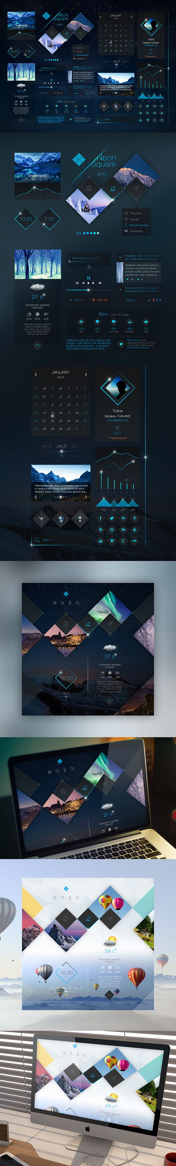 Neon Square UI Kit on Behance