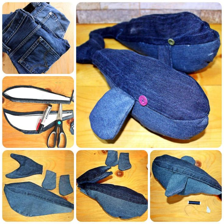 DIY jeans upcycle whale toy - recycle fabric
