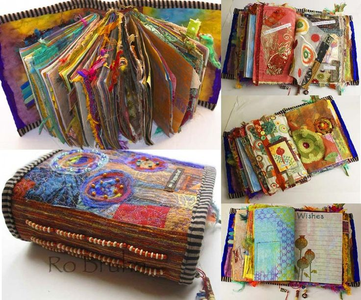 Altered Book by Ro Bruhn.  Don't you just love all the fabric and fiber?