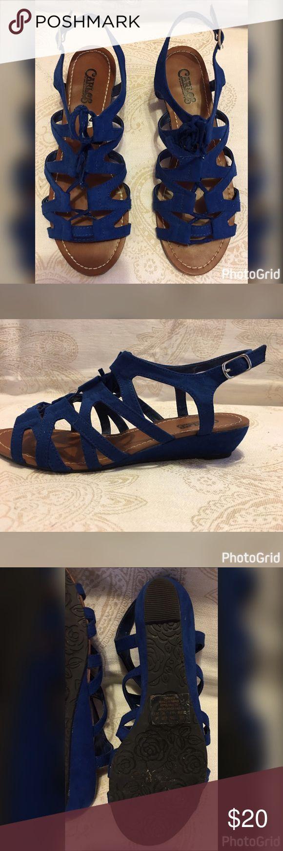 Carlos Santana Sandals Size 7 Cobolt Blue Carlos Santana Cobolt Blue Lace up Sandals Carlos Santana Shoes Sandals