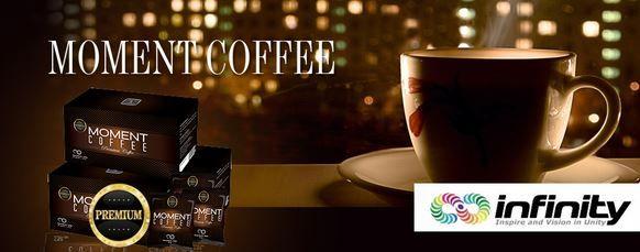 MOMENT COFFEE adalah minuman kopi yang terbuat dari bahan pilihan untuk meningkatkan stamina, energi dan daya tahan tubuh. Racikan Ling zhi Tiongkok, dicampur bahan pilihan mampu memberikan reaksi keperkasaan kaum pria dan kesehatan pria maupun wanita untuk keharmonisan rumah tangga. Ling zhi melindungi organ tubuh, membangun, mengobati, berdampak positif terhadap penyembuhan organ lain,  melindungi liver, ginjal, hemoroid atau wasir, anti-tumor, dan sistem imunitas.