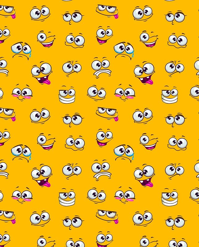 Seamless pattern with funny cartoon faces