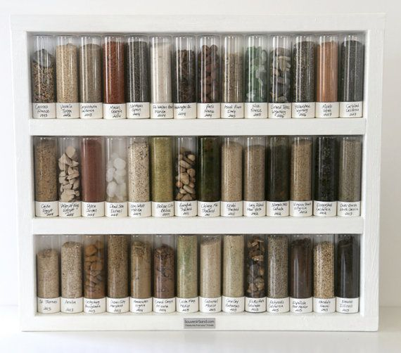 These are being clearanced in prep for new shelf designs!! Collect sand, rocks, shells or soil from all the places you travel. And display these treasures in lovely glass jars on your wall!