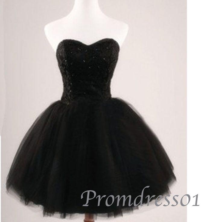 Sweetheart black chiffon short prom dress, ball gown with rhinestons, strapless evening dress for teens, party dress from #promdress01 #promdress -> www.promdress01.c... #coniefox