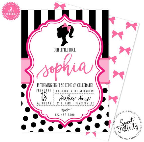 Barbie Glam Printable Birthday Party Invitation by SweetFestivity