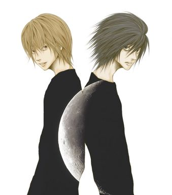 L and Light in the light of the moon. Black clothes. Dramatic poses.