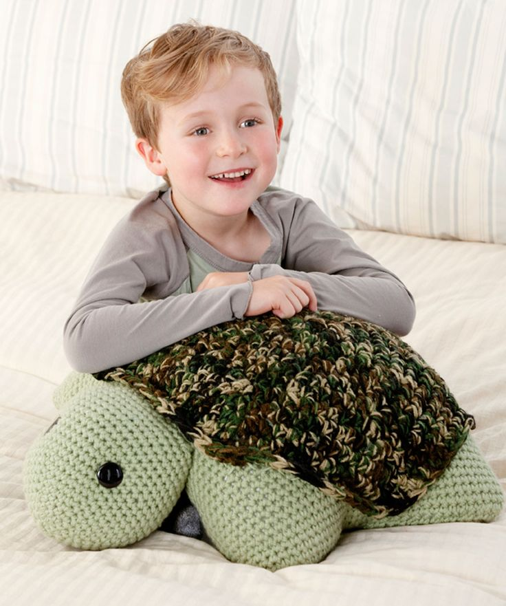 Turtle Pillow Pal - Here s a wonderful crocheted turtle for your favorite kid to hug and love ...