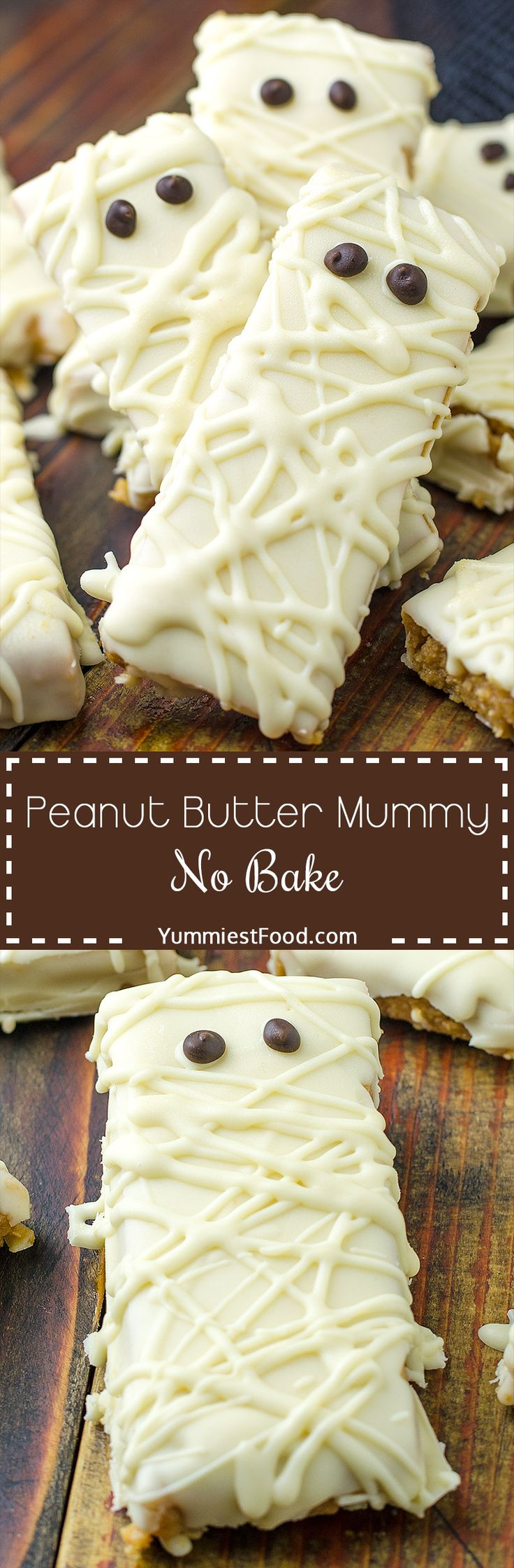 Super fun and easy to make no bake - Peanut Butter Mummy! They are freaking delicious and kids love it. Perfect Halloween treat!