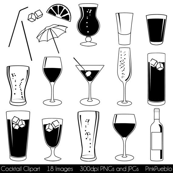 Cocktail Clipart Clip Art with Wine Beer Champagne by PinkPueblo, $6.00