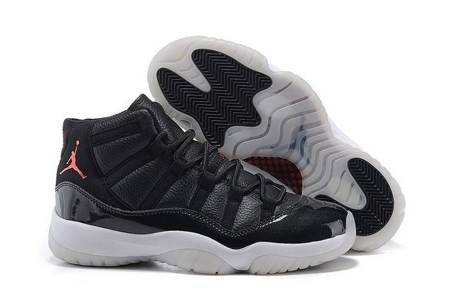 Mens 2015 Air Jordan 11 72-10 Black/Black-Red Shoes