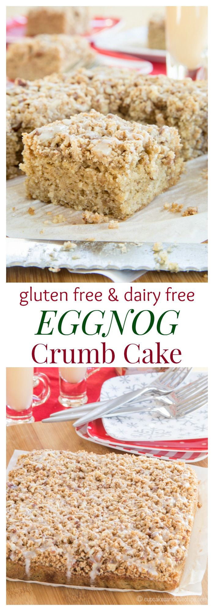 Gluten Free Eggnog Crumb Cake - the aroma of cinnamon and nutmeg will have the family running out of bed for Christmas morning breakfast. Make it dairy free with @LoveMySilk #SilkHolidays #ad | cupcakesandkalechips.com
