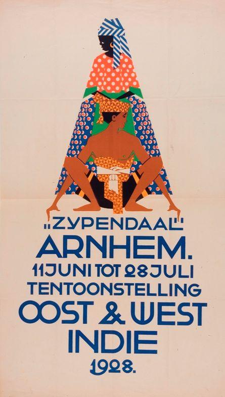 Exhibition poster by N.P. de Koo (1881-1960), 1928, Park Zypendaal, Arnhem Cost & West Indie. (Dutch)