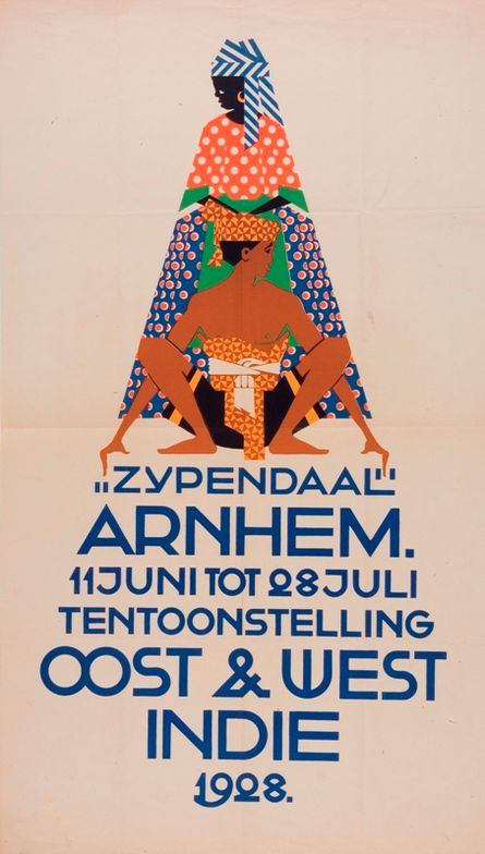Exhibition poster by N.P. de Koo (1881-1960), 1928, Park Zypendaal, Arnhem Cost & West Indie. (Dutch)