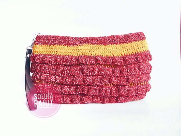 Crochet pouch for make up made by soedja Rajut in color yellow and red