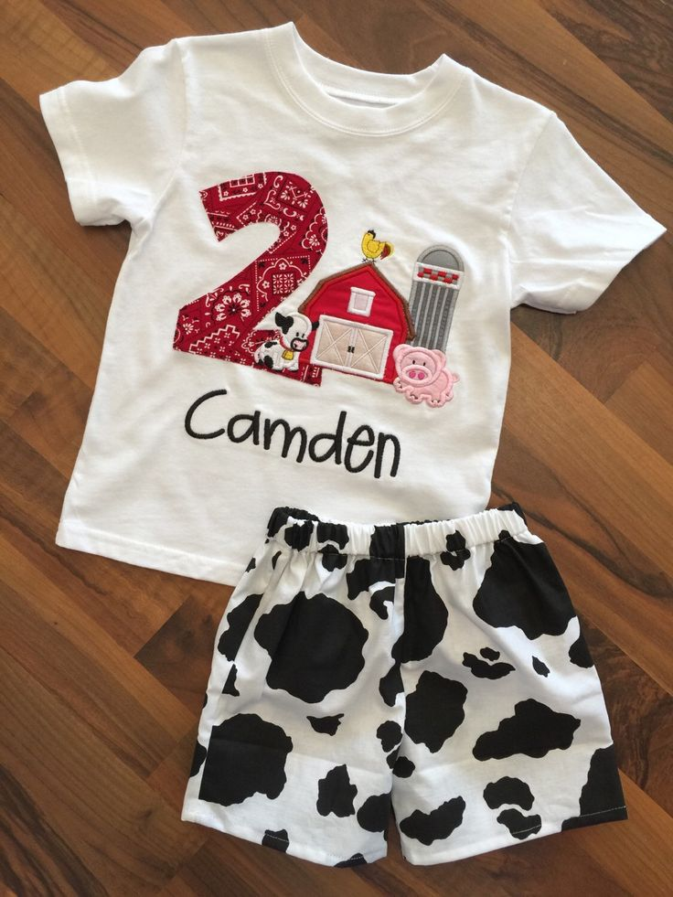 Barn yard farm birthday boy outfit - shirt and shorts set- cow print bandana pig cow chicken barn by PeacebyPiece01 on Etsy https://www.etsy.com/listing/247402125/barn-yard-farm-birthday-boy-outfit-shirt
