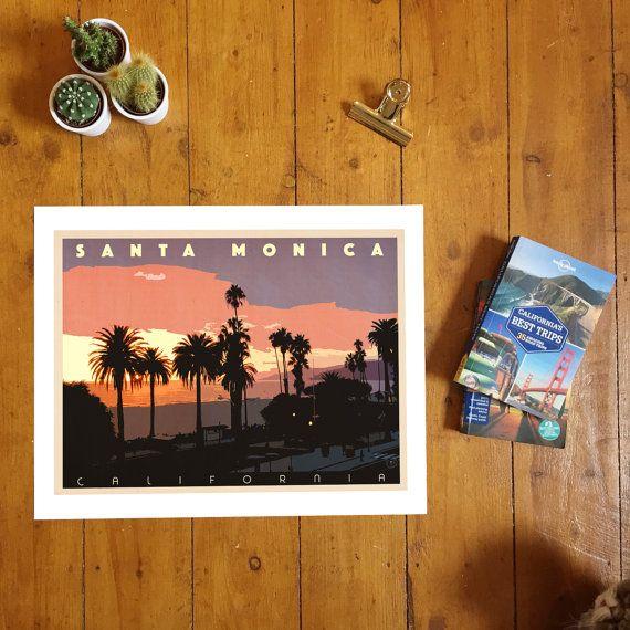 Santa Monica Sunset. Giclee Print, Vintage Style, California, Landscape…