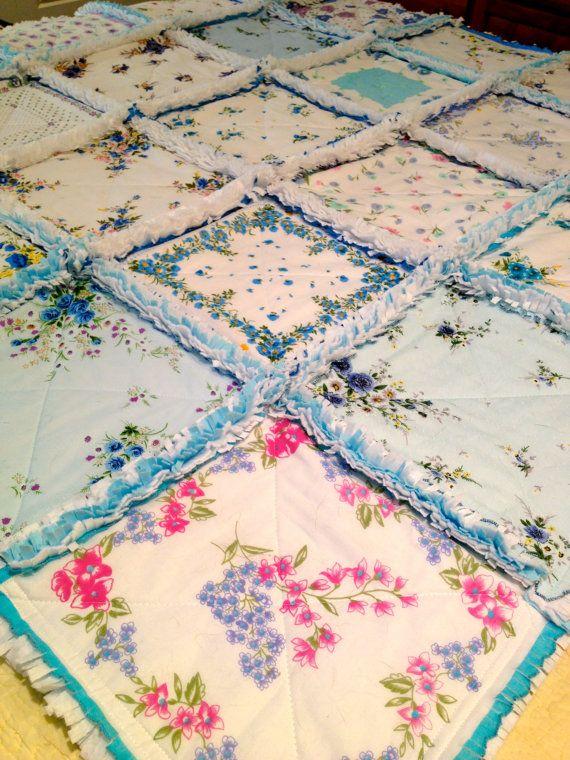 Blue Vintage style Hanky Handkerchief Rag Quilt VI
