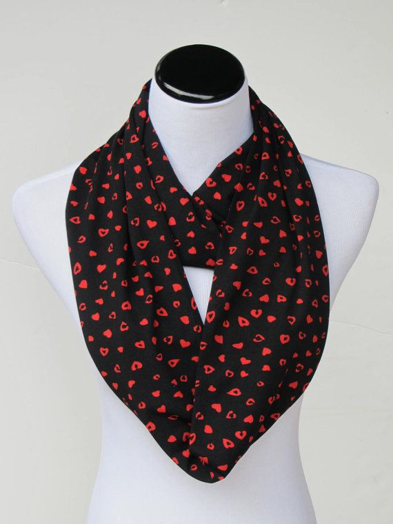 Black Scarf Red Hearts Scarf Mothers day infinity scarf