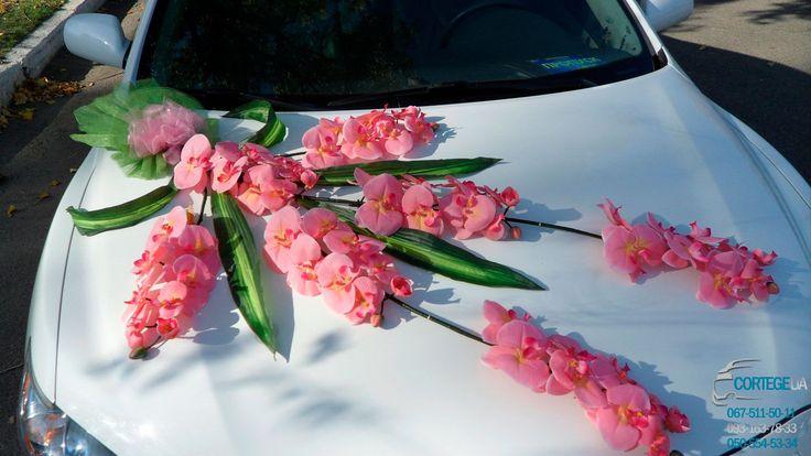 """Комплект украшений для оформления свадебного автомобиля 12 """"Розовые орхидеи"""" Комплект украшений состоит из: букет на капот, букет на багажник, 4 бутоньерки на двери, кольца на крышу. Разделив комплект можно украсить два автомобиля. Аренда, заказ , прокат автомобиля Тойота Камри Гибрид белого цвета на Вашу свадьбу, венчание, годовщину, романтическое свидание, юбилей, выпускной вечер. Николаев, Херсон"""