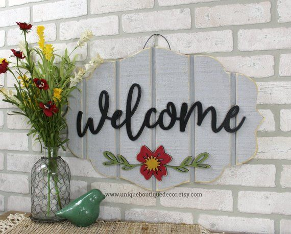Welcome Door Hanger, Summer door sign, Gray red fl…
