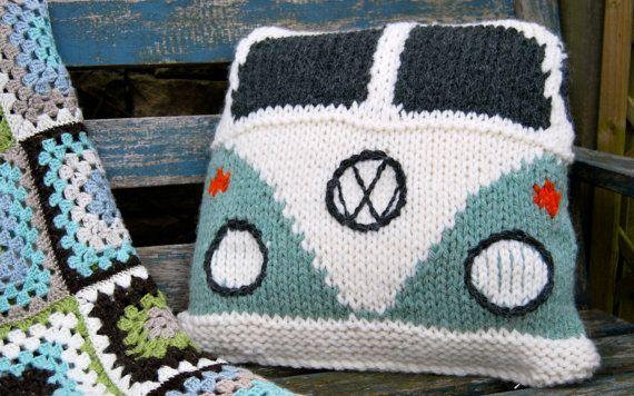 Pattern Knit a Splitty Campervan Kombi Cushion by SnuginaDub, £1.99