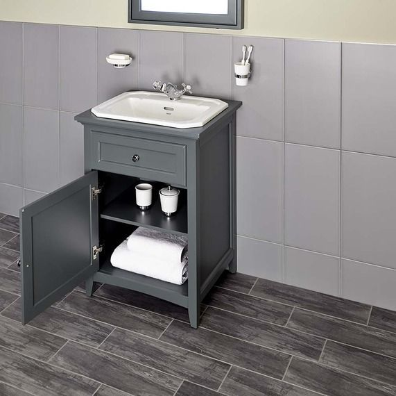 Savoy Charcoal Grey 600 Basin Unit - With 1 Tap Hole Basin | bathstore