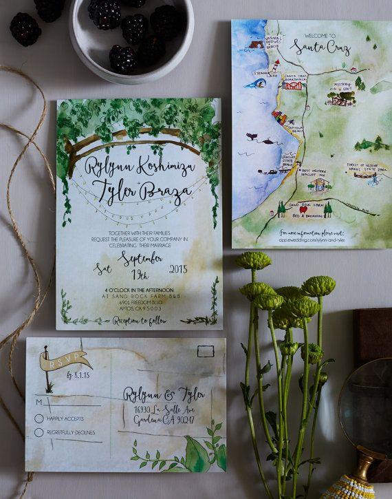 Botanical Vine Watercolor Wedding Invitation by HoneyhuePaperCo