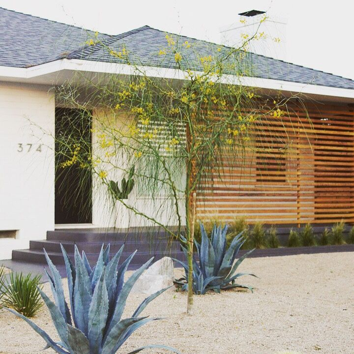 mid century modern -- love the wood partition / fence
