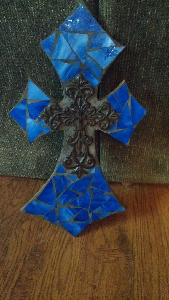 Mosaic stained glass tile cross  Royal by CountryGooseBoutique, $40.00