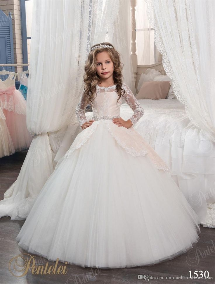 Cute Flower Girls Dresses With Long Sleeves And Beaded Belt 2017 Pentelei Princess Lace Tulle First Communion Gowns For Little Girls Bridesmaids Maxi Dresses From Uniquebridalboutique, $81.16| Dhgate.Com